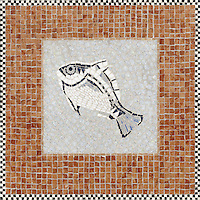 Large mosaic design Fish Sign at the Ferry Building San Francisco, CA