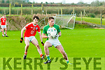 Ballydonoghue V Brosna : Ballydonoghue's Paul Kennelly wins the ball ahead of  Brosna's Maurice O'Keeffe in their quarter final clash in The Bernard O'Callaghan Memorial Senior North Kerry Football Championship clash in Duagh on Sunday last.