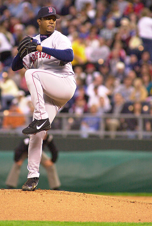 Red Sox right handed pitcher Pedro Martinez starts against the Royals at Kauffman stadium in Kansas City, Missouri on April 19, 2002.  Martinez closed out the fourth inning with his 2000th career strike out.  Boston won 4-0.