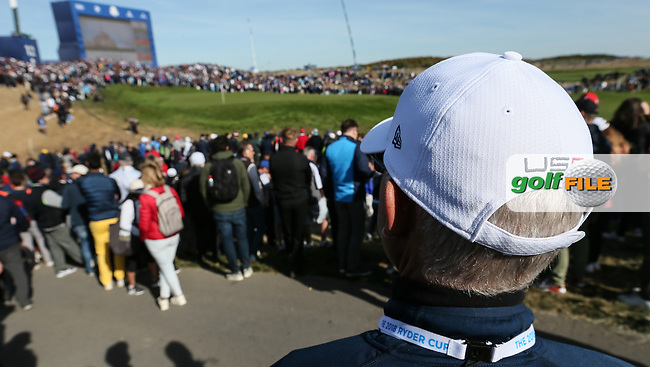 USA headwear during Saturday's Fourballs, at the Ryder Cup, Le Golf National, Île-de-France, France. 29/09/2018.<br /> Picture David Lloyd / Golffile.ie<br /> <br /> All photo usage must carry mandatory copyright credit (© Golffile | David Lloyd)