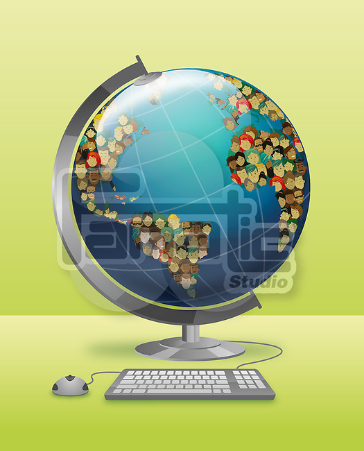 Illustrative image of globe connected with keyboard and mouse representing social networking