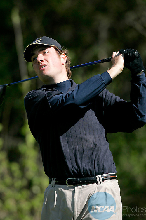 2006 MAY 11:  Stephen Goodridge of the University of Rochester watches his drive on the 3rd hole at Firethorn Golf Club in Lincoln, NE during the 2006 Division 3 Men's Golf Championship.  Goodridge won the individual title while Nebraska Wesleyan took home their first team title.  Trevor Brown, Jr./NCAA Photos