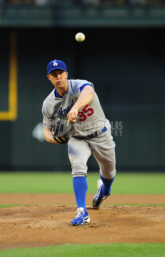 May 21, 2012; Phoenix, AZ, USA; Los Angeles Dodgers pitcher Chris Capuano throws in the first inning against the Los Angeles Dodgers at Chase Field.  Mandatory Credit: Mark J. Rebilas-