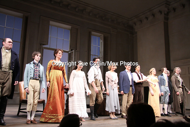 "Margaret Colin and cast - Curtain call of ""Arcadia"" - Broadway Opening Night on March 17, 2011 at the Ethel Barrymore Theatre, New York City, New York.  Arrivals, Curtain Call and Party after at Gotham Hall. (Photo by Sue Coflin/Max Photos)"