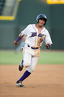 Bryant Flete (30) of the Winston-Salem Dash hustles towards third base against the Potomac Nationals at BB&T Ballpark on August 5, 2017 in Winston-Salem, North Carolina.  The Dash defeated the Nationals 6-0.  (Brian Westerholt/Four Seam Images)