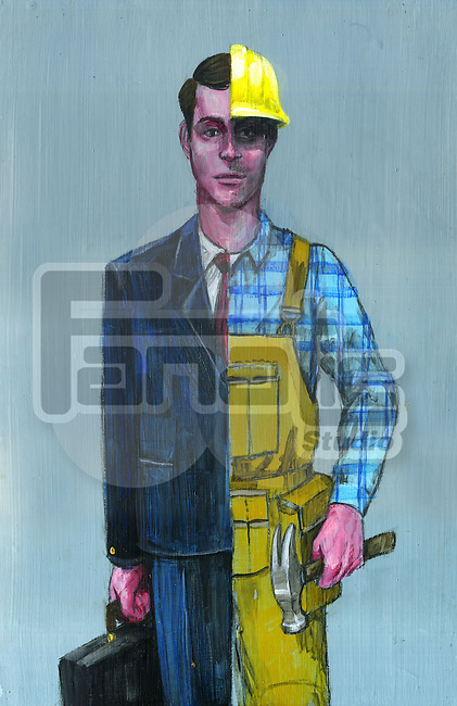 Illustrative image of young man in dual occupation representing changing careers