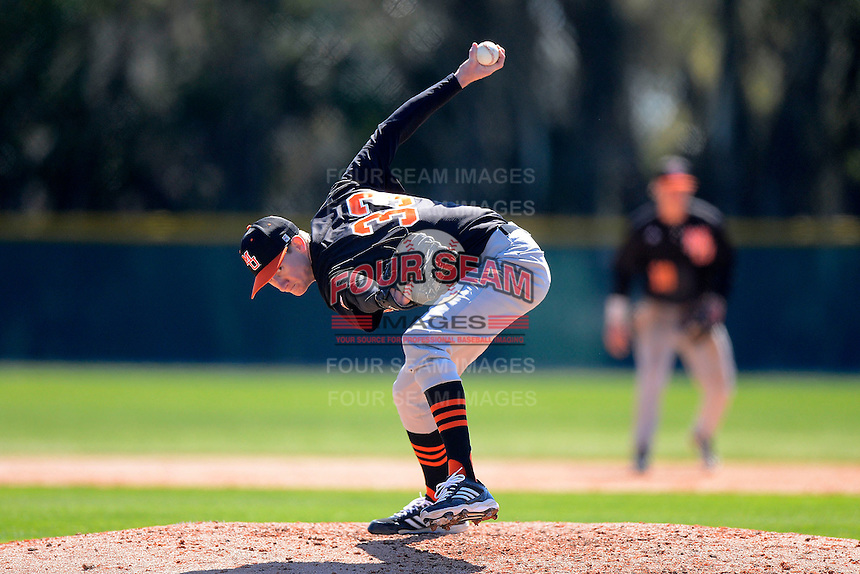 Mercer Bears pitcher David Teasley #33 during a game against the Notre Dame Fighting Irish at the Buck O'Neil Complex on February 17, 2013 in Sarasota, Florida.  Mercer defeated Notre Dame 5-4.  (Mike Janes/Four Seam Images)
