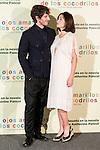 """Hotel Santo Mauro. Madrid. Spain. 30/04/2014. Presentation of the movie """" Los ojos amarillos de los cocodrilos"""".<br /> Quim Gutiérrez, Emmanuelle Béart."""