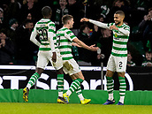 6th February 2019, Celtic Park, Glasgow, Scotland; Ladbrokes Premiership football, Celtic versus Hibernian; Ryan Christie of Celtic  celebrates after scoring the opening goal with Jeremy Toljan of Celtic for 1-0 in the 24th minute
