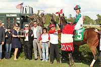 HOT SPRINGS, AR - APRIL 15: Inside Straight #5, with jockey Geovanni Franco aboard in the winners circle after winning the Oaklawn Handicap at Oaklawn Park on April 15, 2017 in Hot Springs, Arkansas. (Photo by Justin Manning/Eclipse Sportswire/Getty Images)