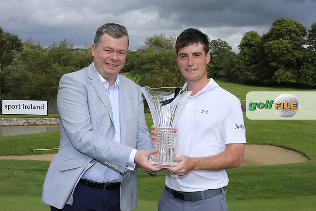 Nigel O'Connor presents Leading Irish Golfer Dermot McElroy (NIR) and his waterford crystal sponsored Christy O'Connor JNR trophy, after the final round at the Volopa Irish Challenge Mount Wolseley Hotel Spa and Golf Resort, Tullow, Carlow, Ireland.  11/09/2016.<br /> Picture: Fran Caffrey | Golffile<br /> <br /> <br /> All photo usage must carry mandatory copyright credit (&copy; Golffile | Fran Caffrey)