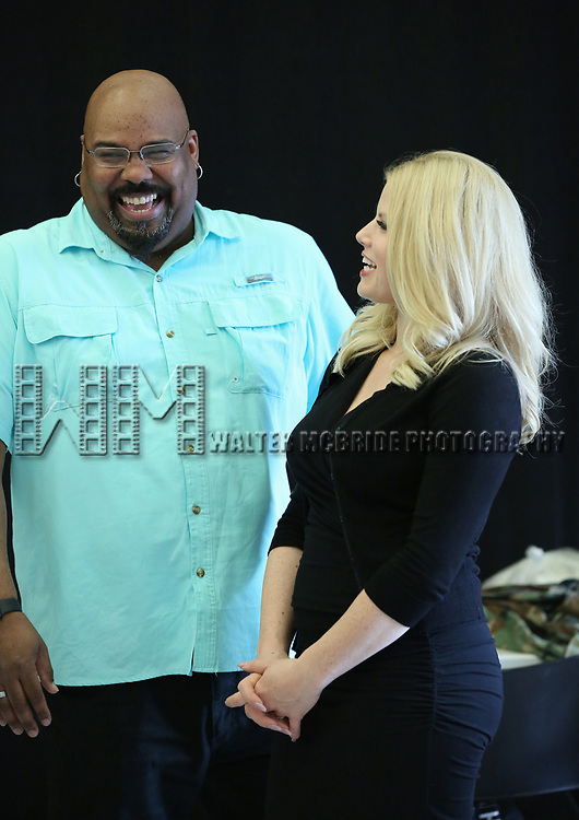 """James Monroe Iglehart and Megan Hilty In Rehearsal with the Kennedy Center production of """"Little Shop of Horrors"""" on October 11 2018 at Ballet Hispanica in New York City."""