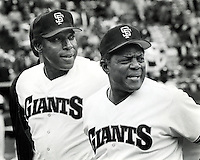 San Francisco Giants sluggers Willie McCovey and Willie Mays. (photo/Ron Riesterer)