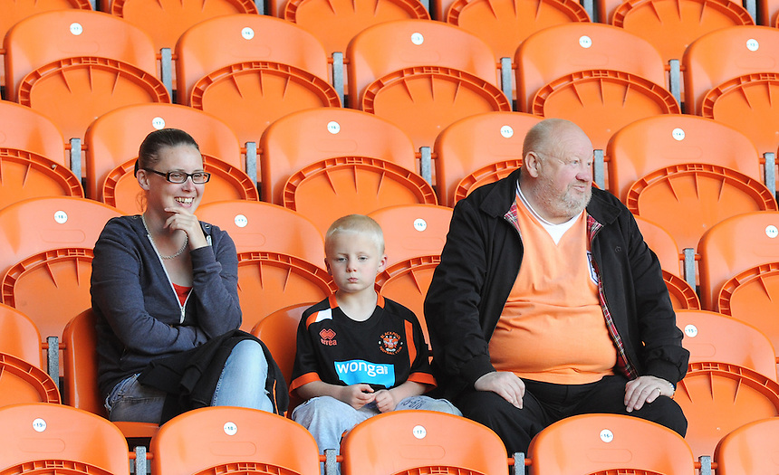 Blackpool fans look on during todays match<br /> <br /> Photographer Kevin Barnes/CameraSport<br /> <br /> Football - The Football League Sky Bet League One - Blackpool v Rochdale - Saturday 15th August 2015 - Bloomfield Road - Blackpool<br /> <br /> &copy; CameraSport - 43 Linden Ave. Countesthorpe. Leicester. England. LE8 5PG - Tel: +44 (0) 116 277 4147 - admin@camerasport.com - www.camerasport.com
