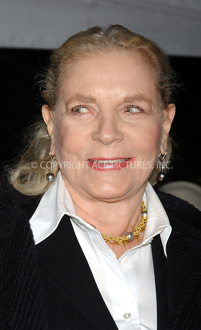 "WWW.ACEPIXS.COM . . . . . ....NEW YORK, DECEMBER 14, 2004....Lauren Bacall at the premiere of ""The Aviator"" held at the Ziegfeld Theatre.....Please byline: ACE006 - ACE PICTURES.. . . . . . ..Ace Pictures, Inc:  ..Alecsey Boldeskul (646) 267-6913 ..Philip Vaughan (646) 769-0430..e-mail: info@acepixs.com..web: http://www.acepixs.com"
