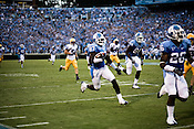 August 30, 2008. Chapel Hill, NC..  In the opening game of the season, the UNC Tarheels beat McNeese State 35- 27 in a game delayed by foul weather.. #87, Brandon Tate, returned a punt for 82 yards to score the first TD of the game and give the Tarheels the lead in the opening quarter.. He also had a 54 yrd. run that set up UNC for their second TD of the half.