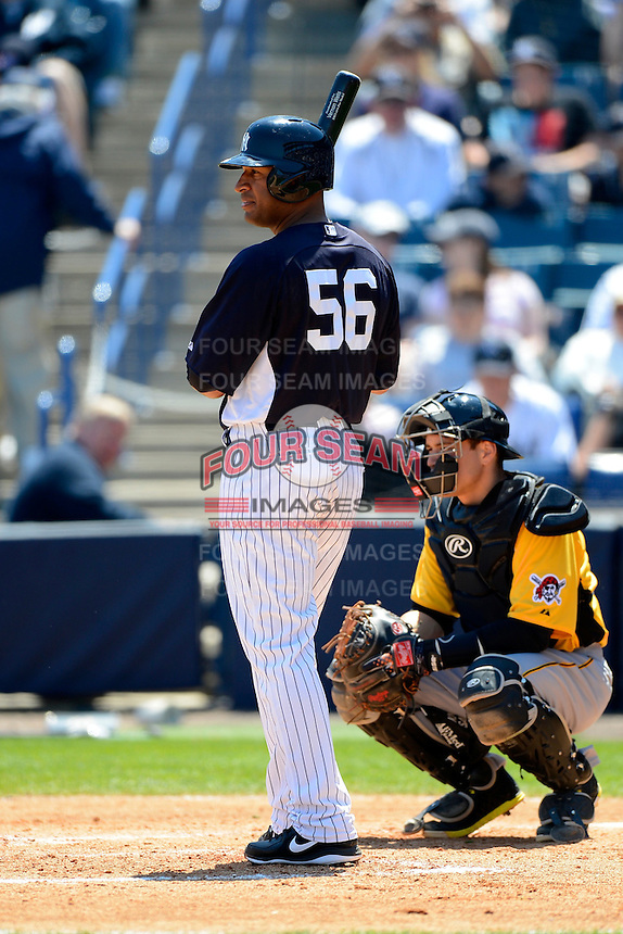 New York Yankees outfielder Vernon Wells #56 during a Spring Training game against the Pittsburgh Pirates at Legends Field on March 28, 2013 in Tampa, Florida.  (Mike Janes/Four Seam Images)