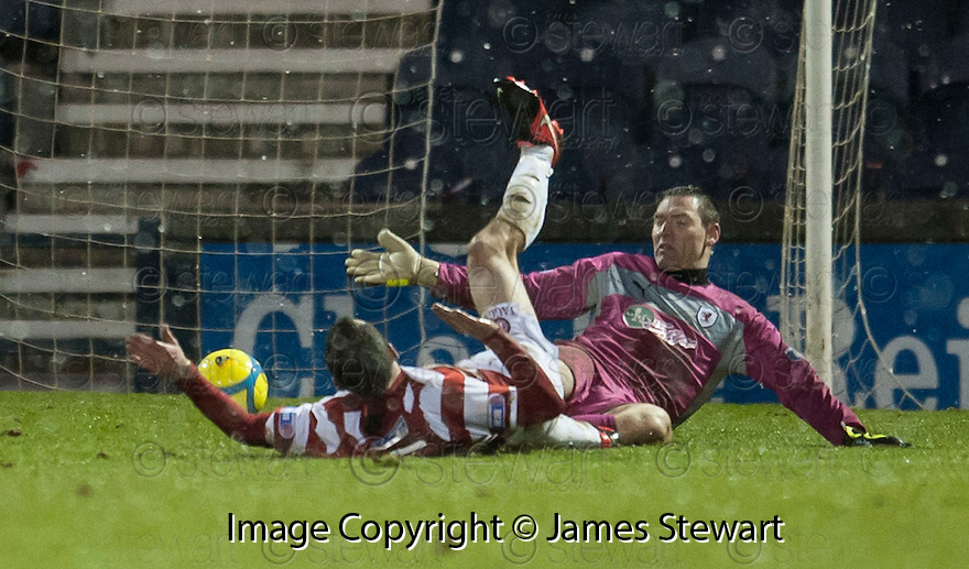 Accies Darian MacKinnon knocks the ball past Raith goalkeeper David McGurn into the net but his goal was disallowed by the assistant referee.