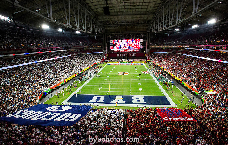 16FTB at Arizona 3922<br /> <br /> 16FTB at Arizona - Cactus Kickoff<br /> <br /> BYU Football defeated Arizona 18-16 in the Cactus Kickoff hosted at the University of Phoenix Stadium in Glendale, Arizona. It was also the first win for new Head Coach Kalani Sitake. <br /> <br /> September 3, 2016<br /> <br /> Photo by Tabitha Sumsion/BYU<br /> <br /> © BYU PHOTO 2016<br /> All Rights Reserved<br /> photo@byu.edu  (801)422-7322