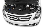 Car Stock 2015 Hyundai H-1 People Executive 5 Door Passenger Van Engine high angle detail view