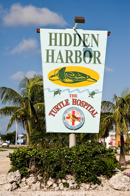 Sign boards of the turtle Hospital in Marathon, Florida.