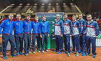 The Hague, The Netherlands, September 13, 2017,  Sportcampus , Davis Cup Netherlands - Chech Republic, Draw, Dutch team (L) and Chech team<br /> Photo: Tennisimages/Henk Koster