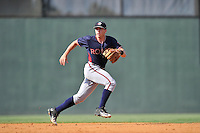 Second baseman Luke Dykstra (4) of the Rome Braves plays defense in a game against the Greenville Drive on Sunday, July 31, 2016, at Fluor Field at the West End in Greenville, South Carolina. Rome won, 6-3. (Tom Priddy/Four Seam Images)