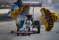 Sept. 1, 2012; Claremont, IN, USA: NHRA top fuel dragster driver Steve Torrence during qualifying for the US Nationals at Lucas Oil Raceway. Mandatory Credit: Mark J. Rebilas-
