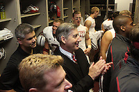 LOS ANGELES, CA - NOVEMBER 14:  Andy Buh and  Bob Bowlsby in the locker room after Stanford's 55-21 win over the USC Trojans on November 14, 2009 at the Los Angeles Coliseum Stadium in Los Angeles, California.