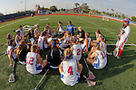 Placentia, CA 05/14/10 - Los Alamitos Head Coach Meredith Meyran and her players went into half time with a 10-6 lead on Redondo Union for the 2010 Los Angeles/Orange County Girls Lacrosse Championship.