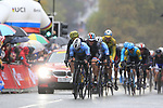Riders led by Remco Evenepoel (BEL) tackle the 9 laps of the Harrogate circuit during the Men Elite Road Race of the UCI World Championships 2019 running 261km from Leeds to Harrogate, England. 29th September 2019.<br /> Picture: Eoin Clarke | Cyclefile<br /> <br /> All photos usage must carry mandatory copyright credit (© Cyclefile | Eoin Clarke)