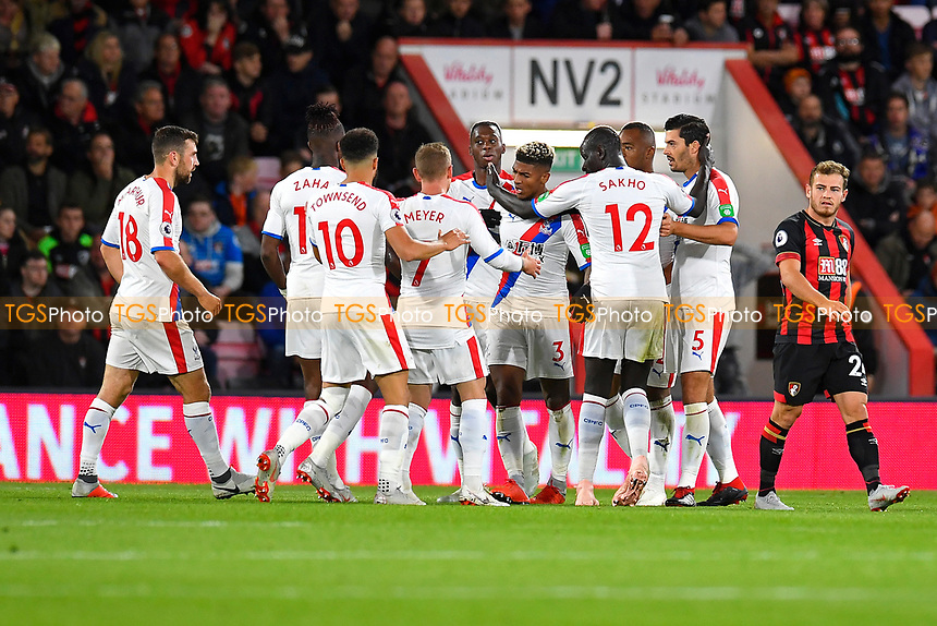Patrick van Aanholt of Crystal Palace (3) is mobbed after scoring during AFC Bournemouth vs Crystal Palace, Premier League Football at the Vitality Stadium on 1st October 2018