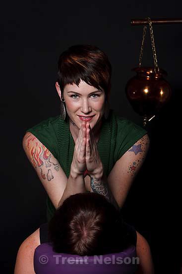 """Salt Lake City - Licensed massage therapist Lindsay Holt calls herself a """"pamper artist,"""" Thursday, August 20 2009."""