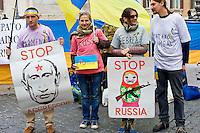 Protesta della comunità ucraina di Roma davanti al Parlamento Italiano