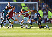 02/05/16 Sky Bet League Championship  Burnley v QPR<br /> David Jones and Joey Barton challenge with Matt Phillips