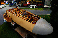 """The partily restored 1946 Fred Wickens designed and built 3-point hydroplane """"Barracuda""""."""