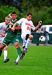 12 September 2010: Cornell University Big Red forward Tyler Regan, a Sophomore from Philadelphia, PA, battles University of Vermont Catamount defender Salvatore Borea, a Freshman from New Canaan, CT, at Centennial Field in Burlington, Vermont. The Catamounts edged out the Big Red 2-1. Mandatory Credit: Ed Wolfstein Photo