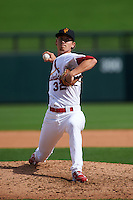 Surprise Saguaros pitcher Luke Weaver (32) delivers a pitch during an Arizona Fall League game against the Salt River Rafters on October 20, 2015 at Salt River Fields at Talking Stick in Scottsdale, Arizona.  Surprise defeated Salt River 3-1.  (Mike Janes/Four Seam Images)