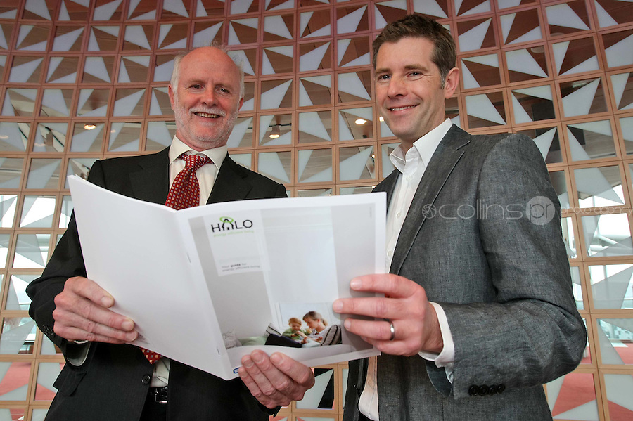 08/11/'10 **NO FEE FOR REPRODUCTION**Renowned architect and presenter of RTE's 'Room to Improve', Dermot Bannon, right and Brian Dowd, Manager of New Products and Services, ESB Energy Solutions pictured at the launch of the ESB HALO Service at the National Convention Centre this morning. ESB HALO is the new inovative, home energy efficiency service designed to meet the energy needs of homeowners throughout the country. HALO Installation Service is a total one-stop solution to home energy needs, from insulating your walls to solar panels on the roof. ESB HALO provides homeowners with the products and installation services they need to meximise savings and minimise their carbon footprint...Picture Colin Keegan, Collins, Dublin.