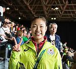 Nozomi Okuhara (JPN), AUGUST 12, 2016 - Badminton : Nozomi Okuhara of Japan celebrates after winning the Rio 2016 Olympic Gamges Badminton Women's Singles Group J match at Riocentro Pavilion 4 in Rio de Janeiro, Brazil. (Photo by Enrico Calderoni/AFLO SPORT)