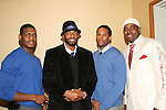 OLTL Tobias Truvillion with GL's Lawrence Saint-Victor and his friend Jason Moore (L) and Lamman Rucker at the 2nd Annual AHEAD - Saving Lives Today - Sustaning Communities Tommorow - fundraising dinner on December 4, 2008 at the River Room, New York City, New York. MIssion of AHEAD is to work with underserved communities in developing countries to improve the quality of life by implrmenting programs that lead to seof-sufficiency and self-reliance. (Photo by Sue Coflin/Max Photos)