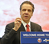 New York State Governor Andrew Cuomo speaks during a news conference at Nassau Coliseum on Monday, Jan. 29, 2018. He announced the site will host a portion of Islanders home games over the next three seasons as the team's new arena at Belmont is being constructed.