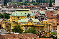 Elevated view of Croatian National Theatre, Zagreb, Croatia