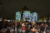 Mexico City, November 10, 2013. Thousands of people gathered at the Palace of Fine Arts in Mexico City, to witness the first International Festival of Lights Mexico 2013.  VIEWpress/Miguel Angel Pantaleon