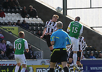 Marc McAusland (left) in an aerial duel with James McPake in the St Mirren v Hibernian Clydesdale Bank Scottish Premier League match played at St Mirren Park, Paisley on 29.4.12.