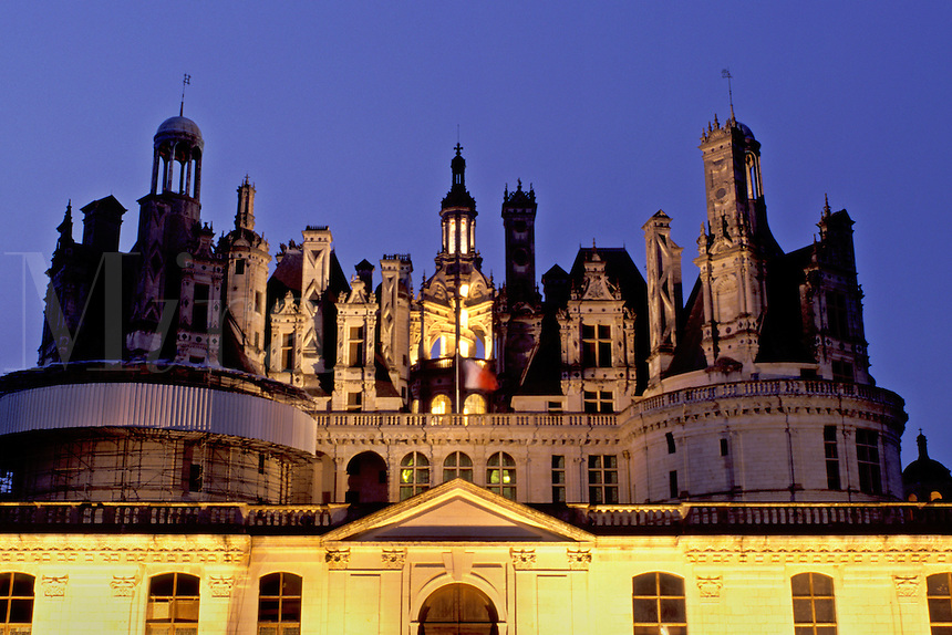 chateau, Loire Valley, Chambord, France, Loire Castle Region, Loir-et-Cher, Centre, Europe, The Renaissance Chateau of Chambord illuminated at night. Largest of all the castles in the Loire Valley.