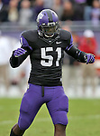 TCU Horned Frogs linebacker Kenny Cain (51) in action during the game between the Iowa State Cyclones and the TCU Horned Frogs  at the Amon G. Carter Stadium in Fort Worth, Texas. Iowa State leads TCU 16 to 10 at halftime....