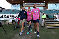 Cary, North Carolina  - Saturday September 09, 2017: Vannessa Fulcher, Kristen Hamilton, and Abby Erceg prior to a regular season National Women's Soccer League (NWSL) match between the North Carolina Courage and the Houston Dash at Sahlen's Stadium at WakeMed Soccer Park. The Courage won the game 1-0.