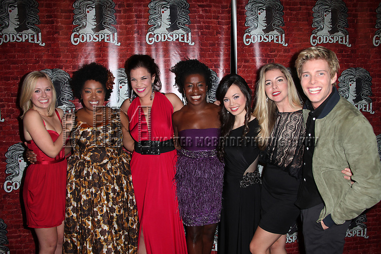 (L-R) Julia Mattison, Celisse Henderson, Lindsay Mendez, Anna Maria Perez de Tagle, Morgan James & Hunter Parrish.attending the Opening Night Performance After Party for the Broadway Revival of 'Godspell' at Planet Hollywood in New York City.