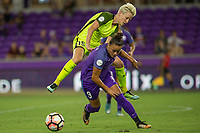 Orlando, FL - Thursday September 07, 2017: Megan Rapinoe, Camila Martins Pereira during a regular season National Women's Soccer League (NWSL) match between the Orlando Pride and the Seattle Reign FC at Orlando City Stadium.